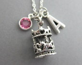 Carousel Necklace - Personalized Handstamp Initial Name, Customized Swarovski crystal birthstone