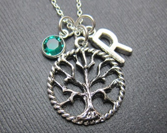 Tree of Life Necklace - Personalized Initial Name, Customized Swarovski crystal birthstone