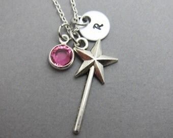 Magic Wand Necklace - Personalized Initial Name, Customized Swarovski crystal birthstone