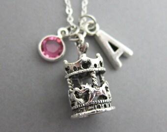 Carousel Necklace - Personalized Handstamp Initial Name, Customized Swarovski crystal birthstone