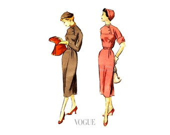 1950s Sheath Dress Pattern Vogue 3370, Straight Skirt, Kimono Sleeves, High Neck Button Bodice, Bust 33, Uncut Vintage Sewing Pattern