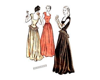 Vintage 1940s Formal Dress Pattern Butterick 3836, Dirndl Skirt, Basque Bodice, Low Square Neckline, Ball Gown, Wedding Dress, Easy