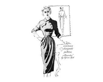 1950s Spadea Pattern 1042 Womens Asymmetrical Dress, Draped Skirt, Bust 34 Petite Dresses, Uncut Vintage Pattern Designer Sylvan Rich