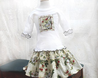 Little Girl Christmas Outfit Tiered Twirl Skirt & Top Set Kid Fall Clothing Girls Outfit 12 18m 2T 3T 4 5 6 Floral Girl Clothes Kids Clothes