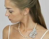 Crystal Brooch Wedding Necklace , Pearl Necklace , Swarovski Crystal Bridal Necklace, Vintage Inspired Wedding Necklace Accessories