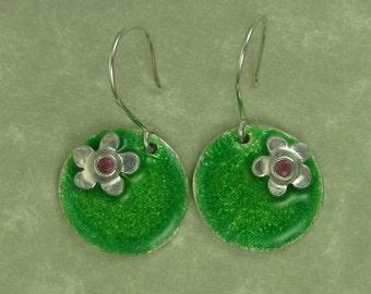 Pink sapphire silver flower green enameled fine silver leaf disk earrings PMC DTPD