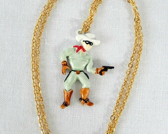 Lone Ranger necklace, 1980, Lone Ranger pendant and necklace, vintage Western jewelry, cowboy