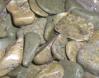Epidote Tumbled and Polished Natural Gemstones Pistachio Green Newfoundland Labrador Crafts Jewelry Rock Art