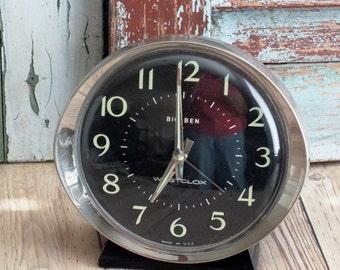 Vintage Big Ben Black Dial Mechanical Alarm Clock 1980's by avintageobsession on etsy