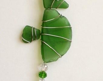Green Sea Glass Seahorse Ornament  or Suncatcher