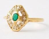 Emerald Diamond Ring: Art Deco 18K Gold, Size 6.5