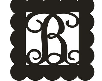 Unfinished Wood Letter Vine Monogram with Scallop Border 17.5 inch tall