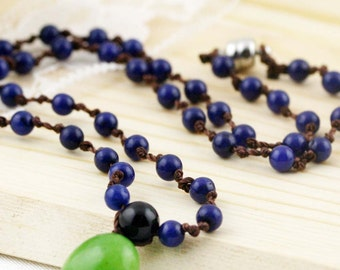 Kindness and peacefulness unisex necklace - lapis, agate and quartzite