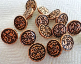 Oak Leaf Vintage Metal Buttons - 8 Copper Tone Metal 1/2 inch 12mm for Jewelry Supplies Beads Sewing Knitting