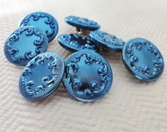 Royal Blue Metal Vintage Buttons - 8