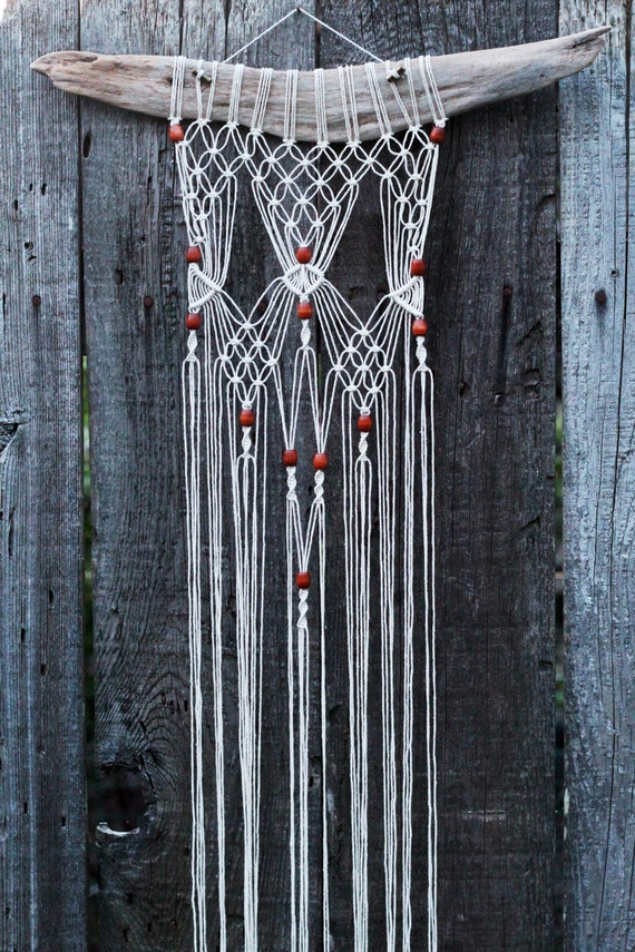 Macram 233 Wall Hanging On Driftwood With Wood Beads