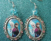 Elsa and Anna Frozen rhinestone embellished oval cameo earrings with winter blue glass beads - On Sale