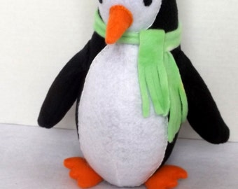 Plush Penguin with fleece hat and scarf