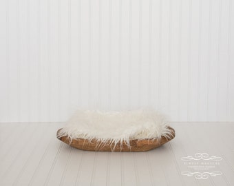Newborn baby digital photography prop backdrop - trench bowl/white fur