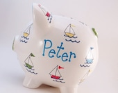 Sail Boats Piggy Bank - Personalized Piggy Bank - Boating Bank - Nautical Piggy Bank - Ceramic Piggy Bank - with hole or NO hole in bottom