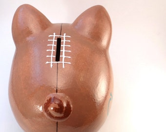 Football Piggy Bank - Personalized Piggy Bank - Pig Skin Piggy Bank - Touchdown Savings Bank - Sports Theme - with hole or NO hole in bottom