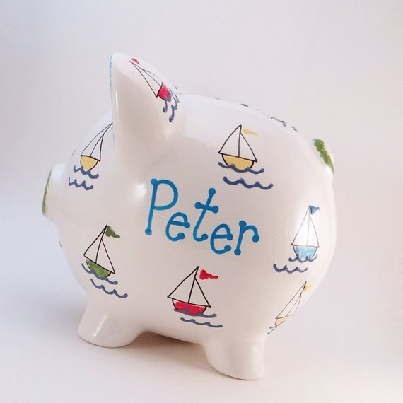 Sail boats piggy bank personalized piggy bank boating bank - Nautical piggy bank ...