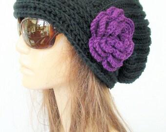 Hand Knit Hat- Womens hat - Slouchy  Black Beanie by Ebruk   Slouchy  Hat Gift Idea  Fall Winter Accessories   Beanie Autumn Fashion