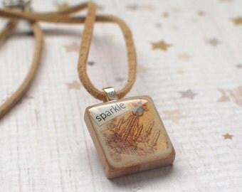 Chandelier Scrabble Necklace, Handmade Scrabble Tile Pendant, Collage Wood Pendant, Vintage Look Scrabble Jewelry, Tiny Jewelry, sparkle