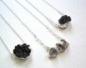 Black druzy pendant necklace sterling silver chain moonstone dark