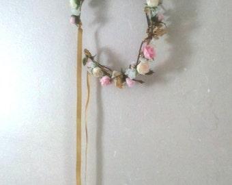 Pink gold Flower crown Bridal hair garland halo champagne hair wreath accessories elegant AmoreBride Woodland pip berries Wedding circlet