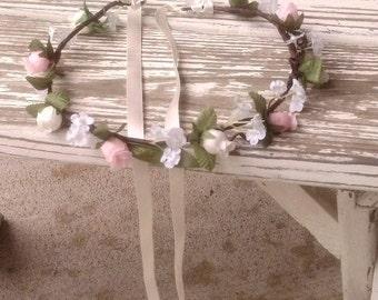 Rustic Pink Flower Girl Halo Barn Wedding hair wreath accessories floral crown bridal headpiece woodland headwreath garland circlet
