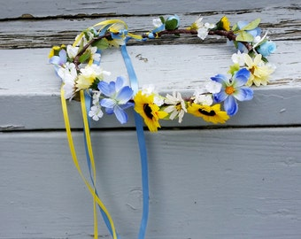 silk sunflower and blue hair wreath Bridal flower crown yellow Rustic chic Woodland accessories ready to ship flower girl halo