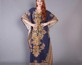 70s ETHNIC Cotton CAFTAN / 1970s Dashiki Print Blue Maxi DRESS