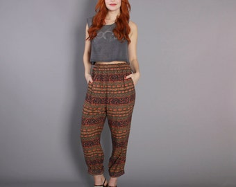 90s ETHNIC Slouchy PANTS / 1990s Tribal Print High Waist Trousers, xs-s