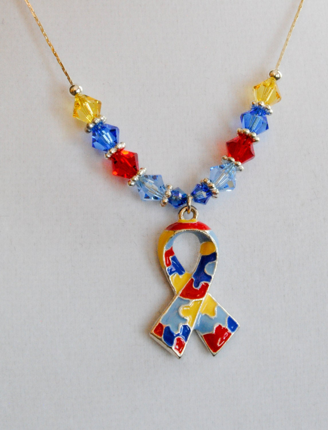autism awareness necklace jewelry with silver by