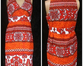 Vintage 70s 1970s Holo Holo Hawaiian Batik Maxi BoHo Barkcloth Summer Dress