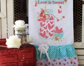 """Valentine Flour Sack Kitchen Towel .""""Love is Sweet"""" Canning Jar & Hearts ...for your Home, Farmhouse or Cottage"""
