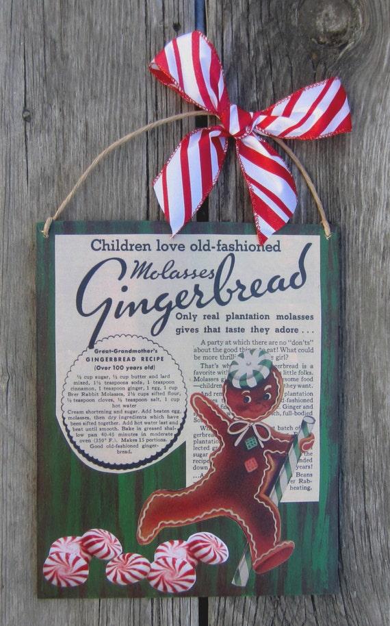 HOLIDAY GINGERBREAD MAN Recipe Sign - Wood Vintage Print