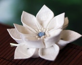 Something Blue, bridal hair flower, wedding bobby pin, white silk, kanzashi, Japanese, blossom, floral hairpiece