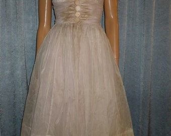 """Vintage 50's - Full Circle - Pink - Lace - Chiffon - Tulle - Bombshell - Pin Up - Ruched Waist - Dress - bust: 34"""" - For Costume or Stage"""