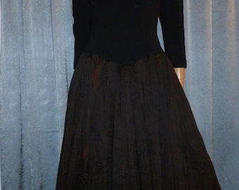 "Vintage 50's - Full Circle Skirting - Black - Crepe - Chiffon- Tulle - Bombshell - Pin Up - Dress - bust: 38"" - For Costume or Stage"
