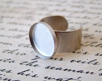 Brushed Matte Silver Ring, 15mm Bezel Ring, Made in The US, 15mm Bezel Cup, Adjustable Ring, Perfect for Resin, Enamel, Typewriter Keys