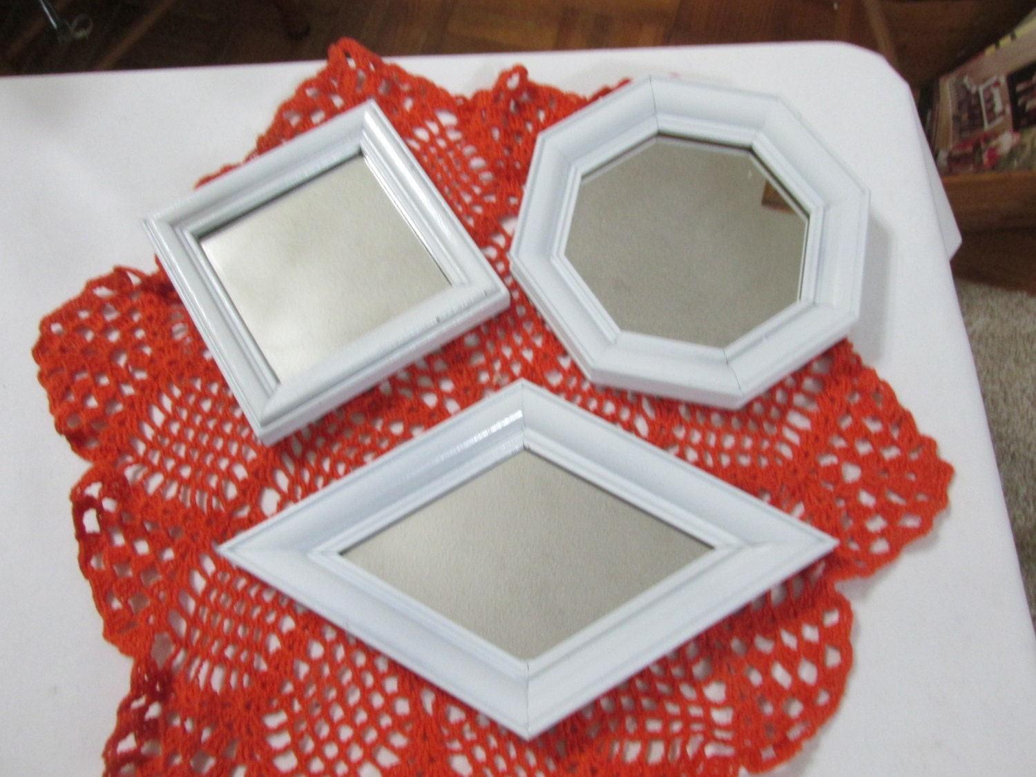 Mirror set of 3 small white framed instant wall grouping for Small white framed mirrors