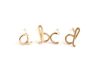 Gold Initial Studs. Lowercase gold letter stud earrings. 14k Gold Filled alphabet post studs