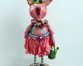 Easter Bunny Vintage Inspired Collectible  Folk Art Doll Sculpture