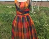 1950s Party Dress - Big Block Check Pattern Chiffon Party Dress - Sleeveless Chiffon - Poofy Party Dress - 35 Bust