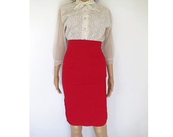 VAMP // red stretchy highwaisted pin up 90s does 50s pencil skirt XS / S / M