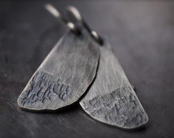 Rustic handmade texturized half moon fine silver earrings
