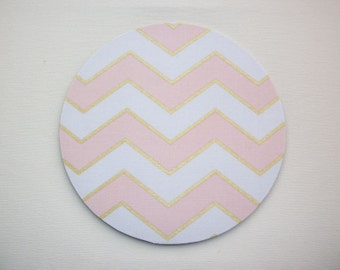 Mouse Pad mousepad / Mat - round or rectangle Shiny gold pink chevron - Computer Accessories Geekery Custom Desk Coworker Gifts Office Gifts
