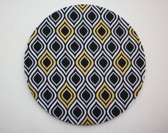 Mouse Pad mousepad / Mat - round - metallic gold black Flame Stripe  - Computer Accessories Geekery Custom Desk Coworker Gifts Office Gifts